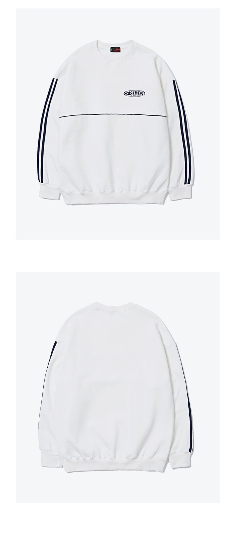오앤에이(ONA) 2ND BMC 로고 투 라인 크루넥 스웨트셔츠[블랙]