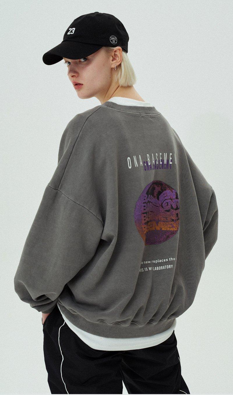 오앤에이(ONA) 베이스먼트 냅핑 워싱 스웨트셔츠[차콜]
