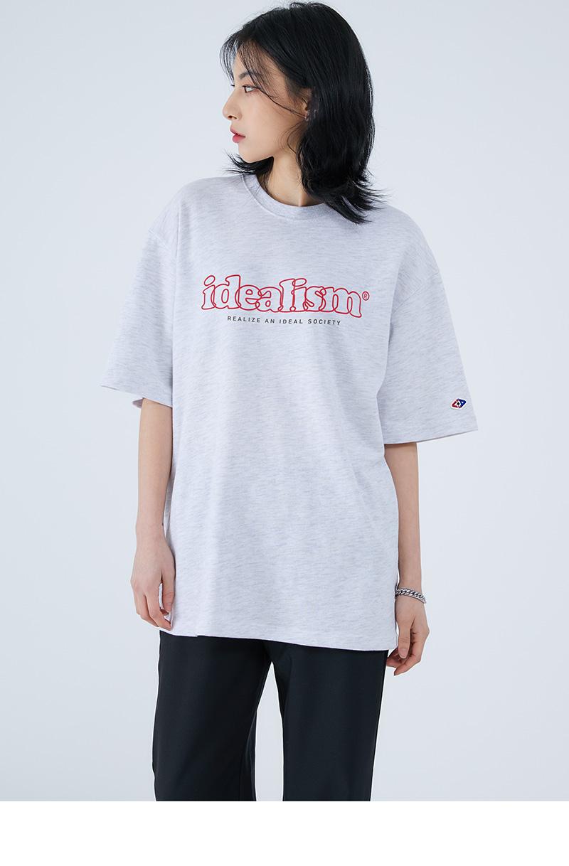 어커버(ACOVER) 아이디얼리즘 오버랩 티셔츠 화이트멜란지